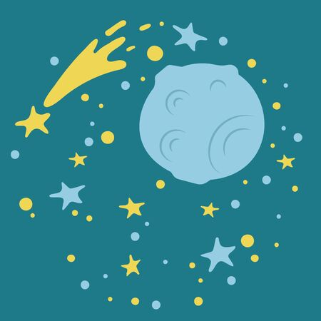 Meteor or planet with milky way and stars, space with round comet and wye, solar system on blue, cover decorated by starry space and asteroid. Vector illustration in flat cartoon style Illustration