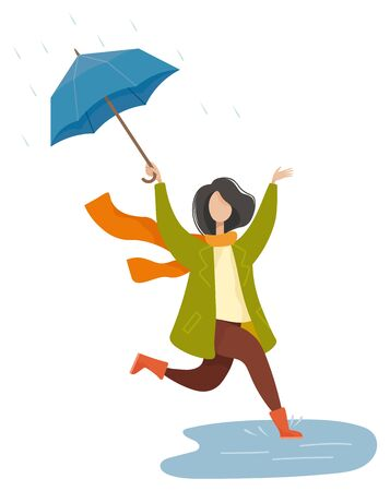 Happy woman holding umbrella and walking in rain. Female character wearing scarf and coat jumping in water. Rainy weather in autumn park. Person going street, seasonal weather in autumn park vector Ilustração