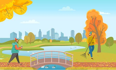 Man walking in park with cup of coffee. Janitor sweeping orange foliage on outdoor territory. Bridge under lake with swimming ducks. People in autumn lawn and beautiful cityscape on background, vector