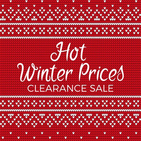Hot winter prices vector, clearance sale at store. Discounts and deals at shops. Embroidery with red and white colors. Stitches pattern closeup. Banner decorated with lines and abstract shapes