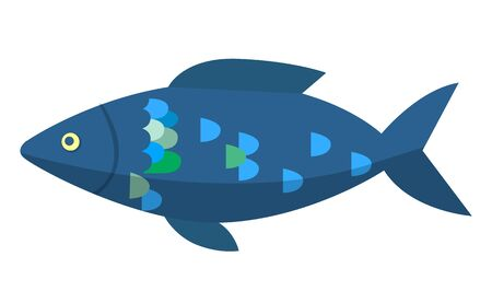 Dark blue fish isolated on white background. Head with small eye, big body with colorful scales, fins and tail. Animal that live in water, fishery sport trophy. Vector in flat style for t-shirt print