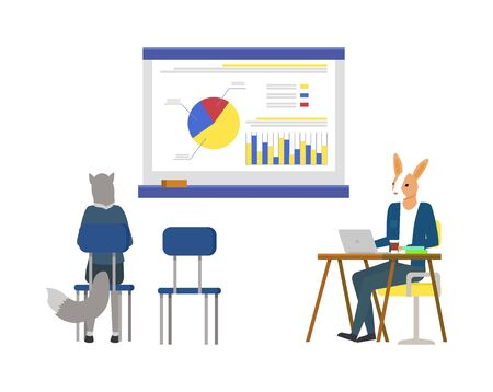 Whiteboard with information, detailed info on board with segments and explanation. Hipster animals sitting by tables and working, brainstorming cat. Vector illustration in flat cartoon style
