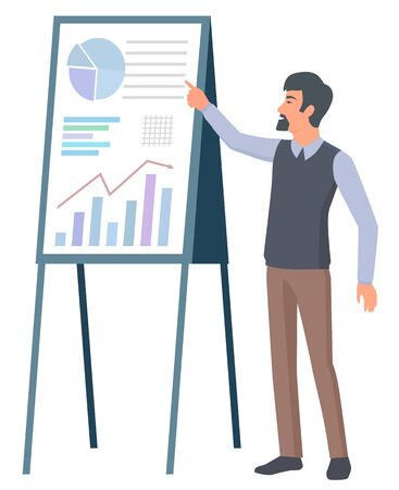 Male character and business project development. Business guy presenting report with statistical growth, management and cooperation concept. Vector illustration in flat cartoon style Stock fotó - 132873348