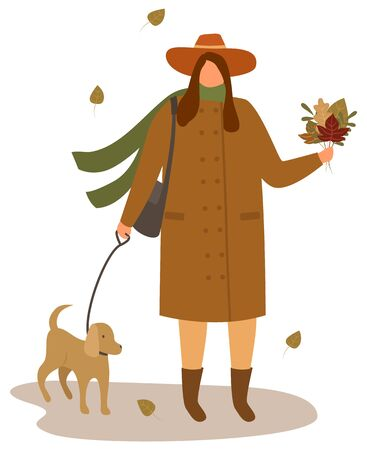Female character relaxing in autumn weekends vector. Isolated woman wearing warm jacket, scarf and hat holding maple leaves in hands. Person walking dog outdoors, fall season flat style illustration Иллюстрация