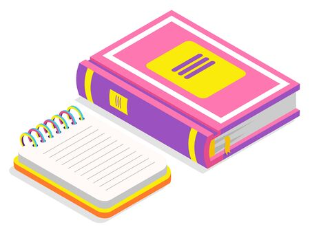 Book publication printed manual vector, isolated icon of textbook and notebook with spiral. Educational elements, information in encyclopedia school. Back to school concept. Flat cartoon isometric 3d Ilustração