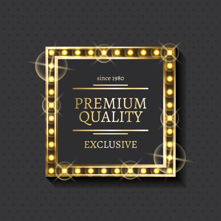 Shiny frame and exclusive product mark, premium quality label vector. Advertising emblem, gold framework and lettering, warranty or guarantee sign