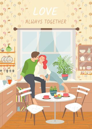 Love always together. Romantic couple sitting and hugging on kitchen windowsill. Cozy interior. Dining table with dishes. Sweet home concept. Vector illustration in flat cartoon style