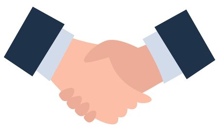 Handshake agreement in business deal vector, isolated hands of businessmen wearing formal suits, jackets and shirts. Partnership of company leaders, official meeting conference illustration flat style