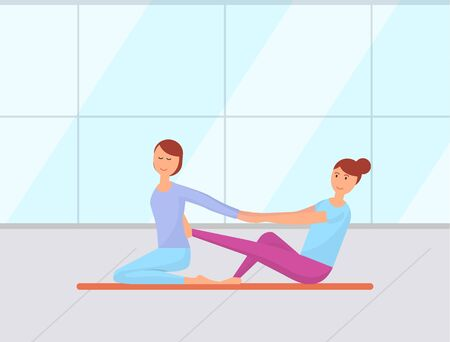 Care for body and skin in spa salon, back massage for lady to reduce pain. Masseuse with client on session, relaxing and treating, relieving ache. Vector illustration in flat cartoon style