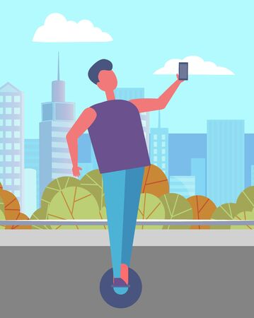 Man walking alone in urban park in summer. Guy riding hover board or gyro scooter on asphalted street. Beautiful cityscape, landscape and view of city on background. Vector illustration in flat style