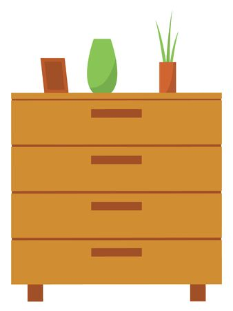 Furniture for home vector, isolated chest of drawers with vase and plant. Frame for photos, flowerpot and empty container for flora interior decoration. Vector illustration in flat cartoon style Ilustração