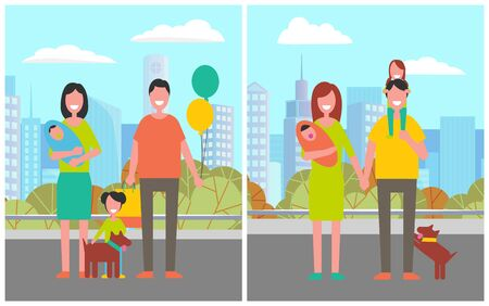City park relaxation, man and woman with dog walking in town. Greenery and nature of urban area, male and female with children and balloons holidays. Vector illustration in flat cartoon style