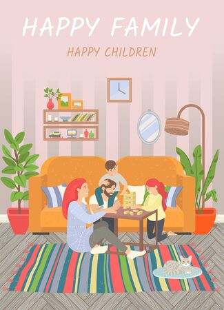 Happy family of parents and children at home on floor playing games. Vector Illustratie