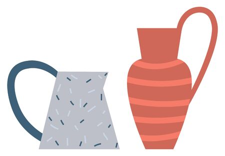 Vase with handle and ornamental decoration, isolated production pottery handmade items. Things made of clay, cup or mug traditional culture. Vector illustration in flat cartoon style
