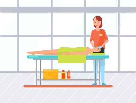 Young woman getting facial massage in spa salon. Professional masseuse and female client lying on table covered with towel. Facial procedures, body care. Vector illustration in flat cartoon style 版權商用圖片 - 132873503