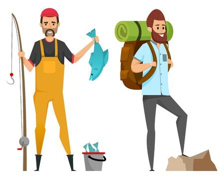 Smiling men in casual clothes holding fish-rod and pike, backpack with mat. Portrait and full length view of hiker and fisherman, fishing and hiking. Vector illustration in flat cartoon style