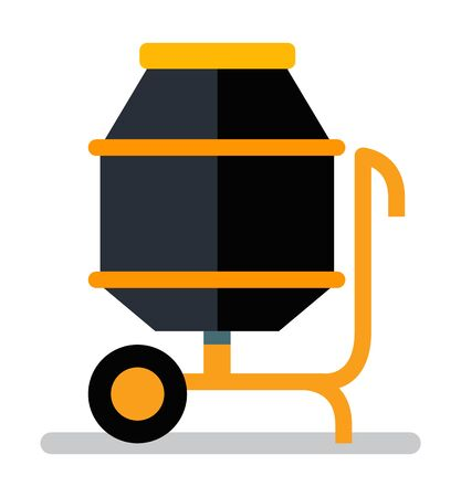 Concrete mixer with handle and wheel, construction equipment. Side view of engineering blender, mixing truck, transportation and pour, blend volume. Vector illustration in flat cartoon style Ilustracja