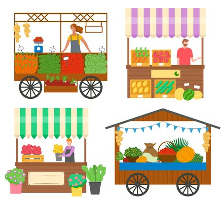 Set of trade tents with people selling fresh vegetables and flowers. Vendor in apron standing behind counter. Street stall or kiosk. Festival market. Vector illustration in flat cartoon style Stock Illustratie
