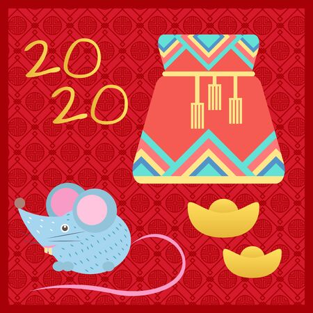 Bag with ropes, 2020 number, mouse character and golden symbol on red. Fortune sack and holiday animal or zodiac, traditional festive icon, celebration element, colorful case, asian object vector