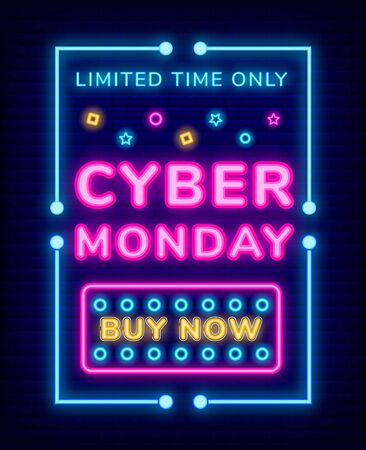 Limited time only cyber Monday neon board with frame. Poster or link by now with colorful lights. Electronic commerce and promotion technology. Special sale ad with glowing lamps on dark vector