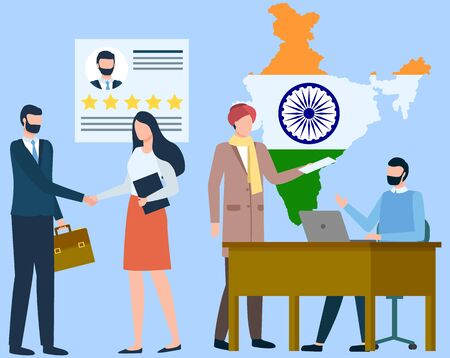 International business and global cooperation with different countries. People working in office. Woman and businessman shaking hands. India on map at background. Vector illustration in flat style