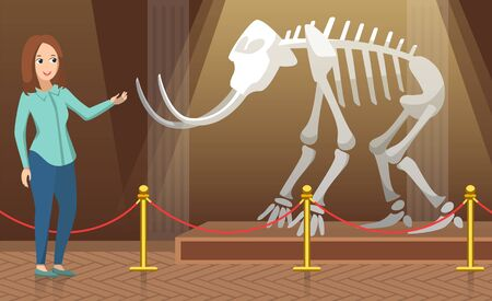 University or college excursion to paleontology museum vector, teacher pointing on mammoth skeleton with tusks talking about history and past. Back to school concept exhibition. Flat cartoon 일러스트
