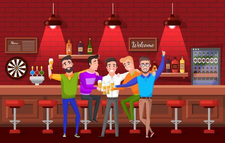Smiling groom hugging friends, men drinking beer in pub. Males celebration bachelor party, laughing people standing near bar counter with alcohol. Vector illustration in flat cartoon style Illustration
