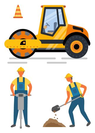 Workers holding drill and shovel, roadwork and asphalting. Side view of pressure machine and cone construction equipment, renovation or road. Vector illustration in flat cartoon style Illustration