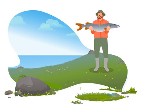 Bearded fisherman standing near lake and poses with caught big fish. Man with green wearing hat and waders hold in hand fish and showing. River fishing weekend hobby. Vector illustration in flat style