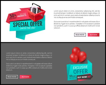Promotional advertising online pages set, badges on website templates, promo offers with presents and gift boxes, fixed prices and advertising tags, Illusztráció