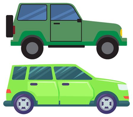car or pickup vector, isolated set of automobiles with tyre. Driving vehicles of green color, transport in city, transportation in town. Auto illustration in flat style design for web, print