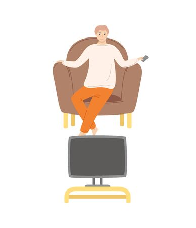 Person at home, male watching movies sitting in comfortable armchair and holding remote control in hand, television and show programs broadcasting. Vector illustration in flat cartoon style