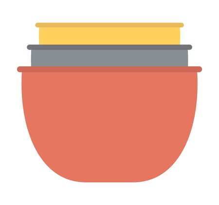 Stack of clay pots isolated kitchen utensils. Household crockery, terracotta pottery. Several ceramic earthenware flowerpots, food bowls. Vector illustration in flat cartoon style Illustration