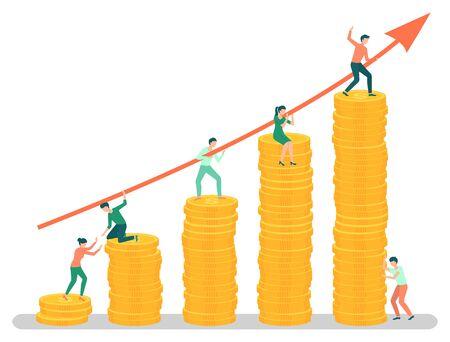 Risultati di progetti aziendali, capo di successo con team. Persone che camminano su un grafico fatto di monete, dipendenti laboriosi con una freccia crescente verso l'alto. Illustrazione vettoriale in stile cartone animato piatto Vettoriali