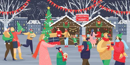 Vector de mercado navideño, tiendas con souvenirs. Niños y adultos festivos, hombre y mujer con niños, calles con banderas. Gente caminando entre puestos decorados o quioscos y descansando con la familia.