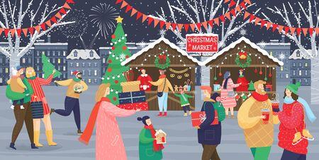 Vettore del mercatino di Natale, negozi con souvenir. Bambini e adulti in festa, uomini e donne con bambini, strade con bandiere. Persone che camminano tra bancarelle o chioschi decorati e si riposano con la famiglia