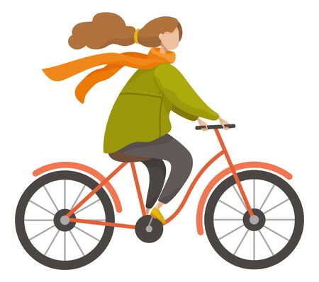 Girl riding bike outdoor in autumn season. Woman cycling on bicycle to get her destination quickly. Lady in warm clothes like coat and scarf. Wheeled transport, vector illustration in flat style
