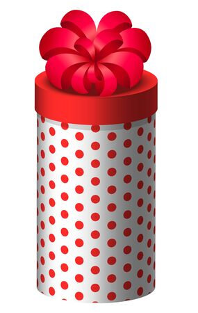 Gift with red bow vector, icon of present box isolated on white. Container with polka dot wrapping. Celebration of holidays and special occasions. Birthday or christmas gift-giving pack of oval shape