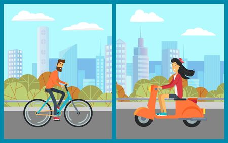 Smiling people riding urban transport in downtown, skyscraper and tree view. Man on bicycle, woman on scooter going by road in city, building. Vector illustration in flat cartoon style