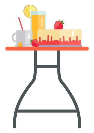 Strawberry cake, juice and tea dessert and drinks. Bakery product and hot beverage, orange smoothie or fresh, breakfast or dinner, nutrition. Vector illustration in flat cartoon style