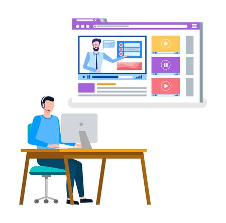 Student studying on internet, online courses and special tasks from teacher flat style. Tutor and pupil sitting by desk with computer at table. Vector illustration in flat cartoon style Stock Illustratie
