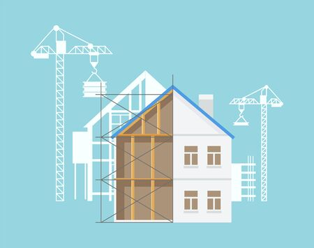 Building construction process, crane and special equipment, machinery for making new estates and constructing places, bricks and walls. Vector illustration in flat cartoon style Ilustracja