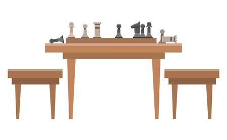 Jeu de stratégie d'échecs à deux joueurs joué sur un échiquier. Les pièces de jeu sont divisées en ensembles blancs et noirs. Table en bois avec damier et figurines, et chaises. Style plat d'illustration vectorielle