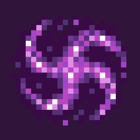 Graphics of 8 bit pixel game, isolated icon of black hole celestial body of rounded shape with rays, circle of purple color, gaming element flat style. Pixeleted object for video-game or app 8bit game Çizim