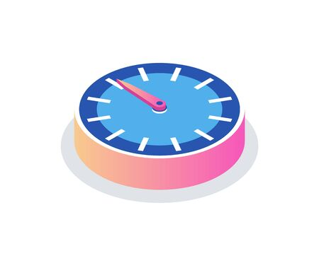 Round clock isolated time measurement icon. Vector circle with hour and minute pointers, 3d isometric modern timer with dial. Chronometer or deadline symbol, timepiece Çizim
