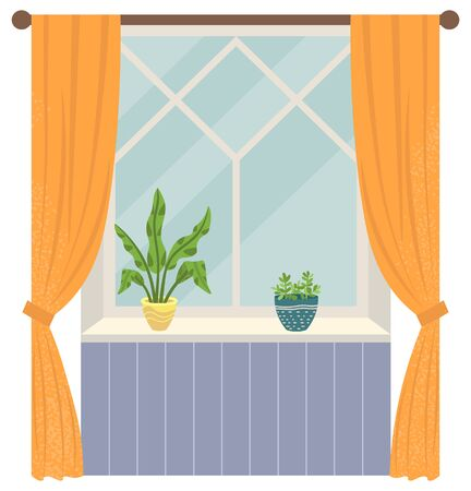 Decoration of living space, room with window and curtains, clean place. Houseplant in pot, floral decor, interior of house flat style chamber. Vector illustration in flat cartoon style