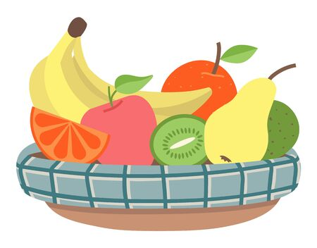 Bowl with fruits, isolated plate with meal for vegetarians. Organic products, banana and kiwi, apple and pear, fresh ripe ingredients in container. Vector illustration in flat cartoon style Foto de archivo - 133389644