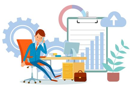 Person dealing with partners on phone, business conversation flat style. Businessman boss sitting by table. Clipboard with chart and cogwheel. Vector illustration in flat cartoon style