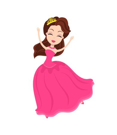 Partying women dancing in dress, female wearing formal costume happily spending time, elegant female with cute hairstyle isolated dancer. Vector illustration in flat cartoon style  イラスト・ベクター素材