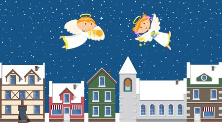 Winter landscape, Christmas angels above town in sky. Houses and snowy roofs, boy and girl with wings and halos throwing stars and playing trumpet. Vector illustration in flat cartoon style
